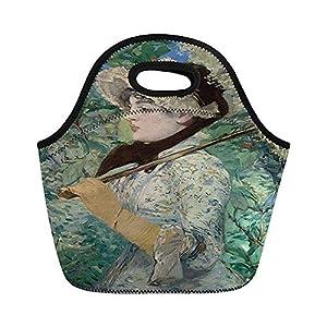 Jeanne Spring by Edouard Manet 1881 - Bolsas de almuerzo de neopreno aisladas con aceite para mujer, para trabajo, adultos, hombres, niños, picnic, fiambrera