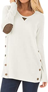 Women Long Sleeve Tunic Tops with Faux Suede Elbow Patches and Button