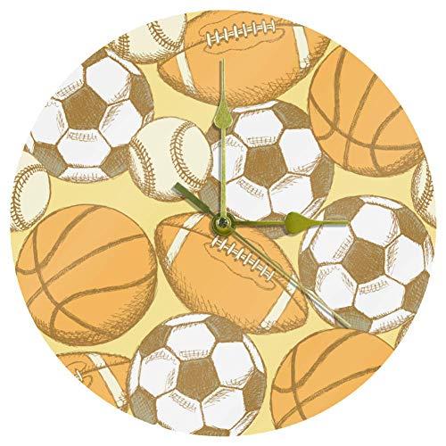 Yoliveya Reloj de pared redondo silencioso de rugby balón d