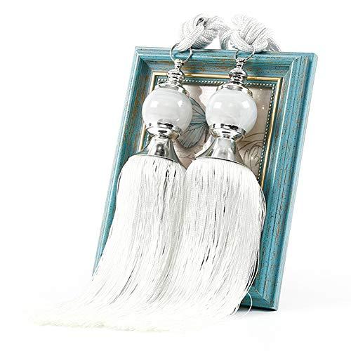 QLING - 1 par de alzapaños de cuerda con borlas para cortinas, hecho a mano, decorativo, para hogar, dormitorio, oficina, hotel, Blanco, Tamaño libre