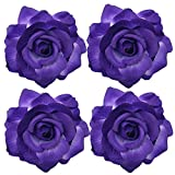 Sanrich 4pcs/pack Fabric Rose Hair Flowers Clips Mexican Hair Flowers Hairpin Brooch Hair Accessory Wedding Party Headpieces (puprle)