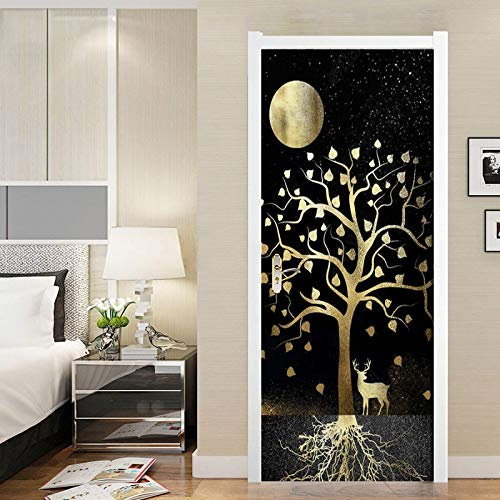 IKPHQF 3D Door Art Creative Golden Moon Trees Elk 77X200CM Removable Door Stickers, Pvc Self-Adhesive Waterproof Door Murals, Children Kids Bedroom Bathroom Kitchen Interior Doors Decoration Stickers