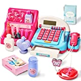 HERSITY Caja Registradora Juguetes Supermercado Infantil con Escáner Sonidos y Luces Juego de Princesas Kit Maquillaje Juguetes Regalos para Niño Niña