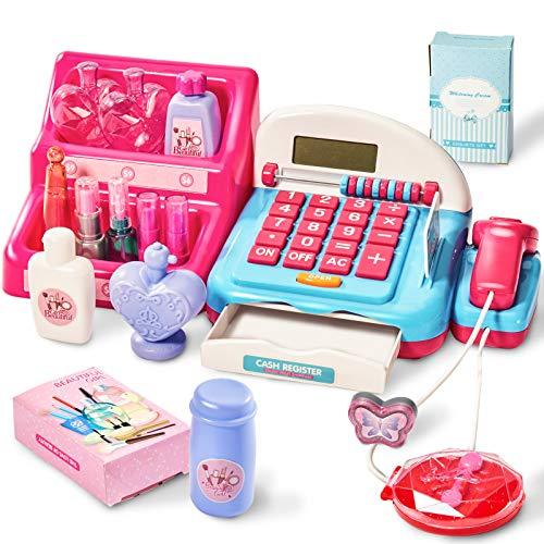 HERSITY Caja Registradora Juguetes Supermercado Infantil con Escáner Sonidos y Luces Juego de Princesas Kit Maquillaje Juguetes Regalos para Niño Niña 3 4 5 Años