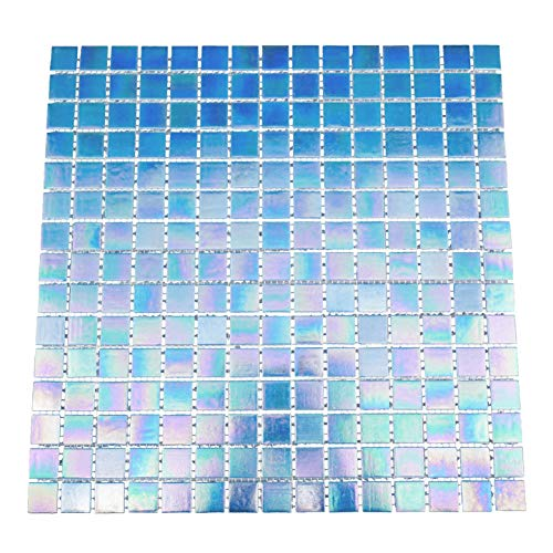 URBN Contemporary Ocean Blue Iridescent Glass Mosaic Tile for Kitchen and Bath - Sample Tile (4-1/3 inches x 4-1/3 inches, 0.13 SQ FT)