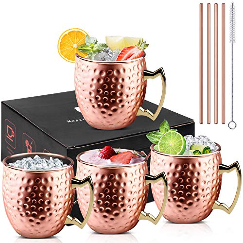 VPOW 4 Stück Moscow Mule Becher, Kupfertassen Moscow Mule Kupferbecher 4er Set, Cocktail Tasse mit 4 Strohhalmen und 1 Pinsel, perfekt für Bier, Kaltgetränk