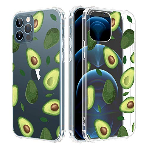 Caka Clear Case for iPhone 12 iPhone 12 Pro Case for Girls Women, Girly Flowers Clear Floral Pattern Soft TPU Transparent Protective Case for iPhone 12 iPhone 12 Pro 6.1 inches (Avocado)