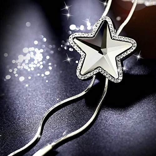 WWF Art und Weise Fünfzackigen Stern Pullover Kette Weibliche Einfache Quaste Anhänger Herbst und Winter Lange Halskette Kette Kleidung Passend,grau,90 cm