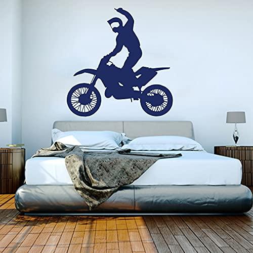 Calcomanía de Pared de Corredor de Motocicleta, habitación de niño, Motocicleta, Deportes de Motor, Pegatina de Pared, Dormitorio, Garaje, decoración de Vinilo, 57X57cm