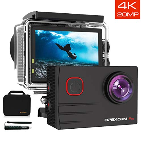[2019 New]Apexcam EIS 4K 20MP WiFi Action Camera 170° Wide-Angle Ultra HD Sports Camera 40M Waterproof Underwater Camera With Remote...