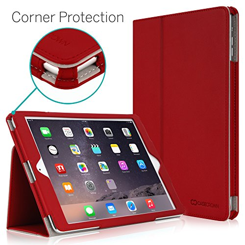 """iPad Air 2 9.7"""" Case, [Corner Protection] CaseCrown Bold Standby Pro (Red) with Sleep/Wake & Multi-Angle Viewing Stand"""