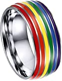 INSTO 2 Unids Lgbt Pride Rainbow Raning Titanium Acero Lesbian Anillo, Tamaño 9