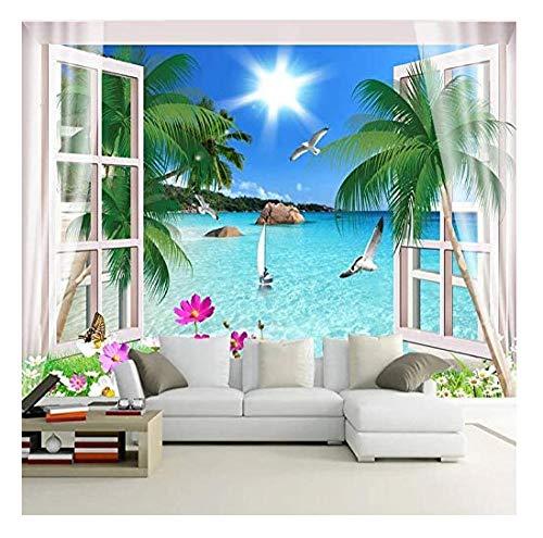 Murales Papel Pintado,Vista al mar desde la ventana Foto Wallpaper Comedor Sala de Estar Sofá Telón de Fondo Pintura de Pared Mural de Pared-120x100cm
