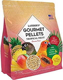 LAFEBER'S Premium Tropical Fruit Pellets Pet Bird Food, Made with Non-GMO and Human-Grade Ingredients, for Conures, 4 lbs