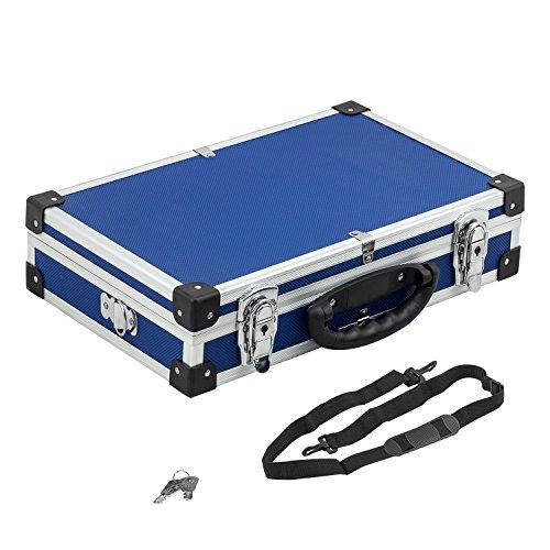 universeller Alurahmenkoffer Werkzeugkiste Schutzkoffer Blau mit Gurt, Schlüssel