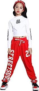 Traje de Baile Hip Hop para niñas, Camiseta de Baile Callejero para niños y Conjunto de chándal con cordón