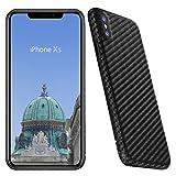 VIVERSIS echte Carbon Hülle für iPhone XS, matt schwarz, ultradünn, sehr leicht, robust, kabelloses Laden, hohe Qualität - Made in Germany…