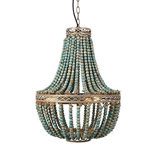 Newrays Vintage antiguo gris azul madera cuentas candelabro tres luces colgante acabado accesorios de lámpara de techo (Big Blue)