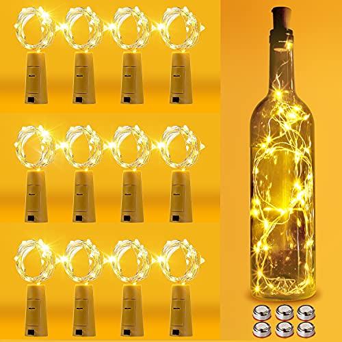 12pcs LED Bouteille Lumière, Fuyionsko 20 LED 2M Bouteille Guirlande en Cuivre Flexible Décoration pour Halloween, Noël, Mariage, Jardin, Pelouse et Bricolage Partie (Blanc Chaud)