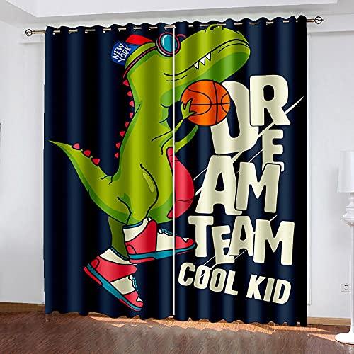 XMDPFF Tende Oscuranti per Interni Dinosauro verde cartone animato220x215cmOscurante Tenda con Occhielli, Camera da Letto Bambini per Casa Moderne Interni