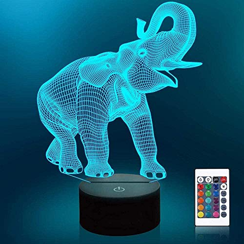 3D Illusion Night Light Touch Led Mesa Lámpara de escritorio Elefante USB Powered 7 colores Intermitente Interruptor táctil Decoración de dormitorio Regalo fresco para niños