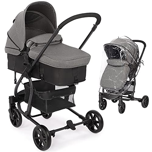 Hadwin Pram 2-in-1 Travel System, Foldable Baby Pushchair with Rain Cover, Reclinable Reversible Pushchair Seat and Carrycot from Birth, Buggy with Lying Function for Newborn to Toddler-Black & Grey