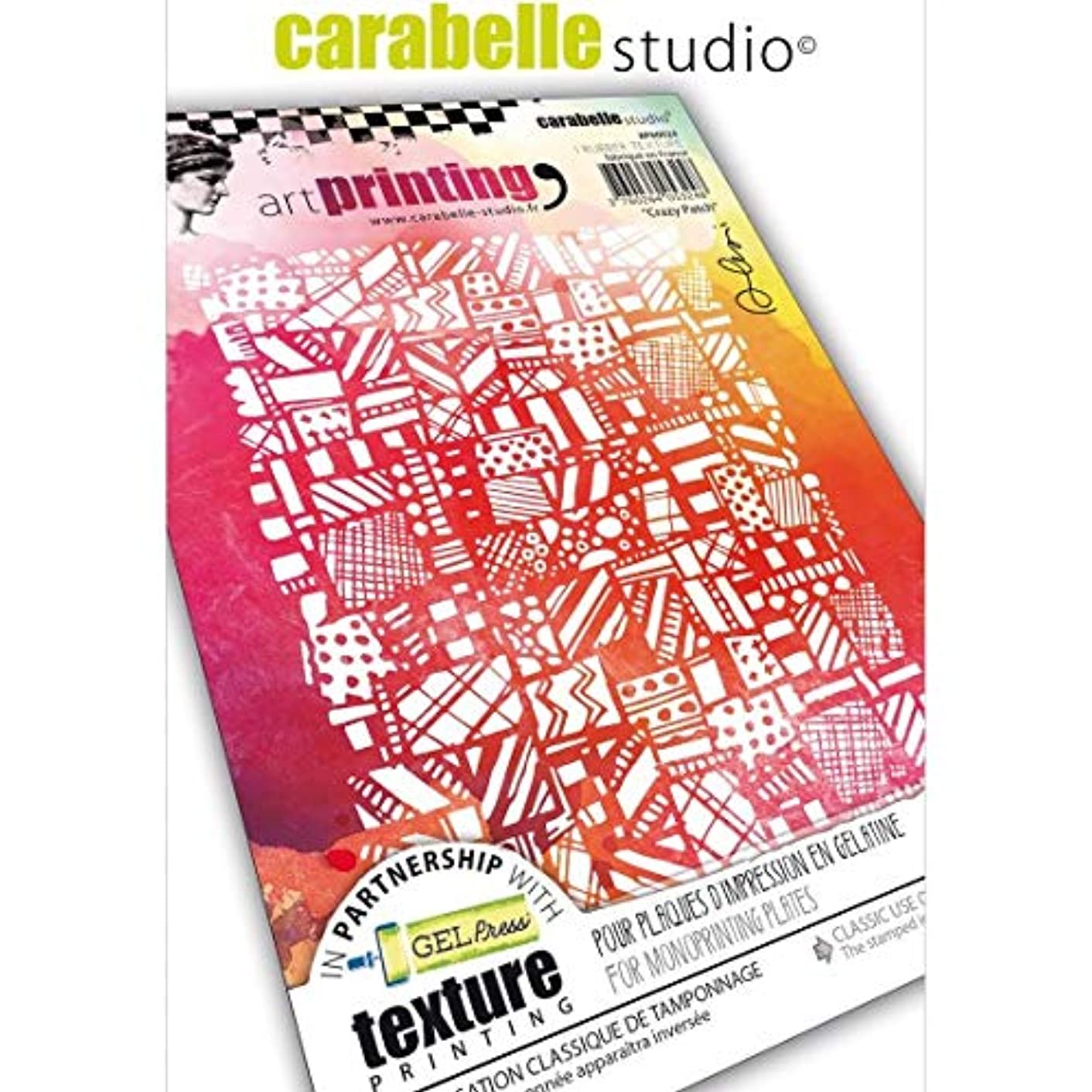 Carabelle Studios Art Printing Rubber Texture Stamp Rectangle, Crazy Patch, for Gel Monoprint Plates, A6