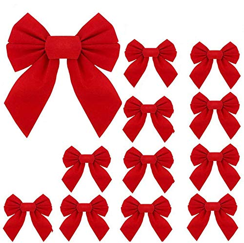 boogift 12 Pack Red Velvet Christmas Bows Holiday Christmas Bows Red Velvet Ribbon Bows - Xmas Tree Decoration, 9.5 x 13 inches