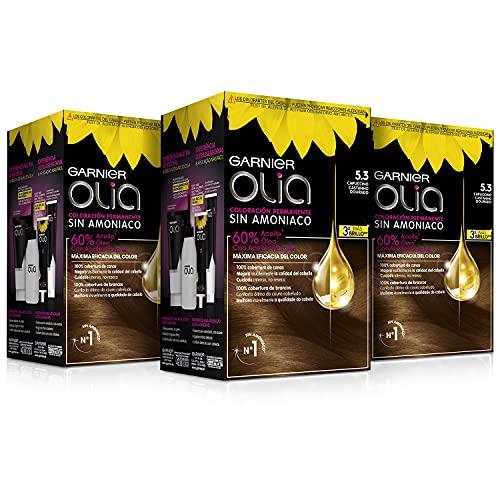 Garnier Olia - Pack de 3 coloración permanente sin amoniaco para un olor agradable con aceites florales de origen natural, color tono 5.3 capuccino