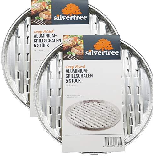 silvertree Alu-Grillschalen Long Beach | Rund | 1 Packung = 5 Stück | 2 cm x Ø 34 cm | Grillpfanne | Sauberes und raucharmes Grillen (2 Packungen = 10 Stück)