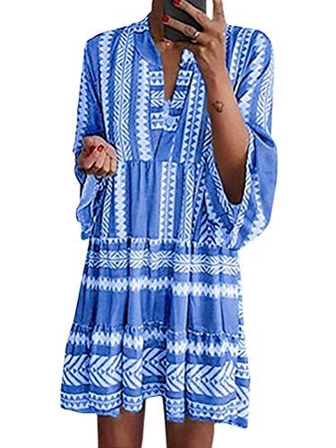 Minetom Mujer Vestidos de Verano Impresión Bohemia Vestido de Camiseta Chic Manga 3/4 Sueltos Vestidos de Playa Boho V-Cuello Dress A Azul ES 50