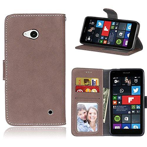 Microsoft Lumia 640 Hülle, SATURCASE Retro Mattiert PU Leder Flip Magnetverschluss Brieftasche Standfunktion Schützend Tasche Schutzhülle Handycover für Nokia/Microsoft Lumia 640 LTE (Braun)