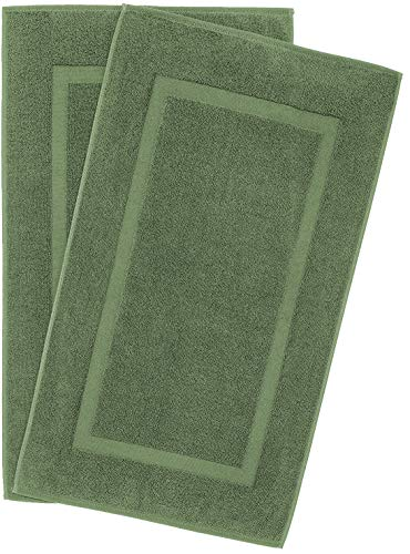 900 GSM Machine Washable 20x34 Inches 2-Pack Banded Bath Mats, Luxury Hotel and Spa Quality, 100% Ring Spun Genuine Cotton, Maximum Softness and Absorbency by United Home Textile, Sage Green