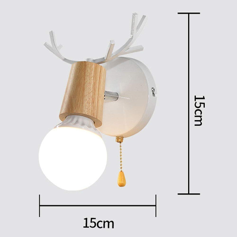Meetyou Moderne minimalistische Wohnzimmer-Schlafleuderlampe, Schmiedeeifer Creative Deer Head Antler Small Wall Lampe,Weiß