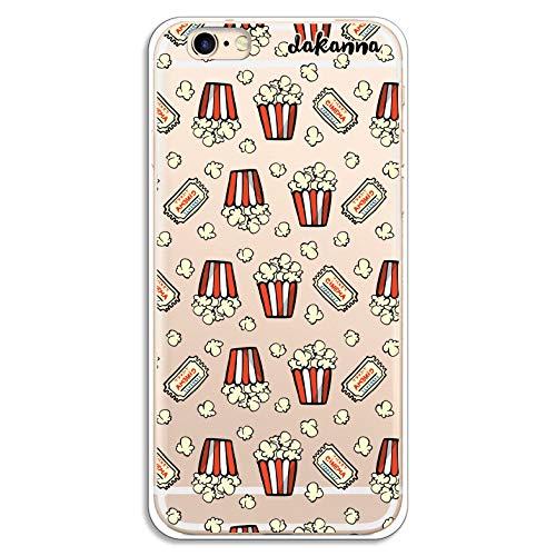 dakanna Funda para [iPhone 6-6S] de Silicona Flexible, Dibujo Diseño [Patron de Palomitas y entradas de Cine Vintage], Color [Fondo Transparente] Carcasa Case Cover de Gel TPU para Smartphone
