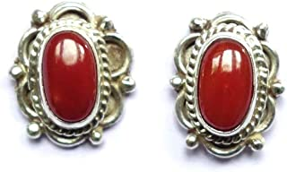 TIBETAN SILVER GENUINE ITALIAN RED CORAL GEMSTONE AUTHENTIC HANDMADE 925 STERLING SILVER HALLMARKED FASHION STUD EARRINGS FOR WOMEN AND GIRLS UNISEX STUD EARRINGS ETHNIC BOHO STUD EARRINGS