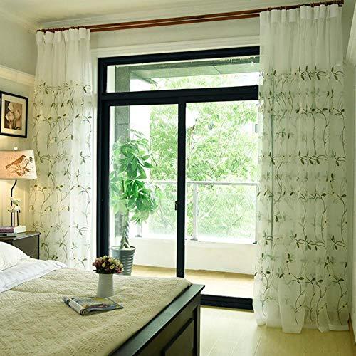 BHD geborduurd bloemen tule gordijn voor gordijnen voor woonkamer de slaapkamer pastorale tule gordijnen stoffen gordijnen, groen, B100xL130cm