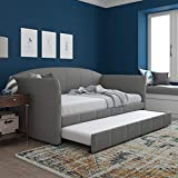 DHP Halle Upholstered Daybed and Trundle, Sofa Bed Fits Twin Size Mattress of 6-Inches (Not Included), Gray