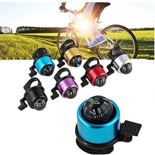 Alecony Classic Fahrradklingel Laut mit Kompass,O Design Fahrradglocke für Alle Fahrrad Lenker,Q Bell Radfahren Fahrrad Glocke Mountainbike Alarm Horn Ring für Straßenfahrräder, BMX-Räder (Silber)