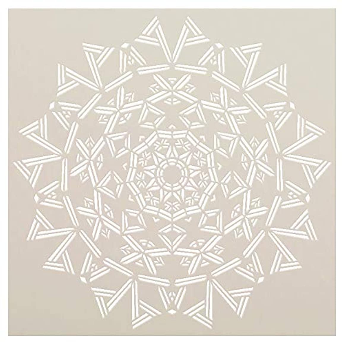Mandala - Triangles - Complete Stencil by StudioR12   Reusable Mylar Template   Use to Paint Wood Signs - Pallets - Pillows - Wall Art - Floor Tile - Select Size (10