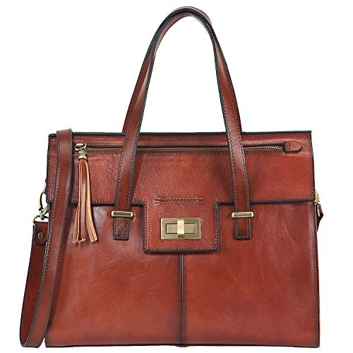 Banuce Vintage Full Grain Italian Leather Purses and Handbags for Women Satchel Bag Fashion Ladies Work Bag