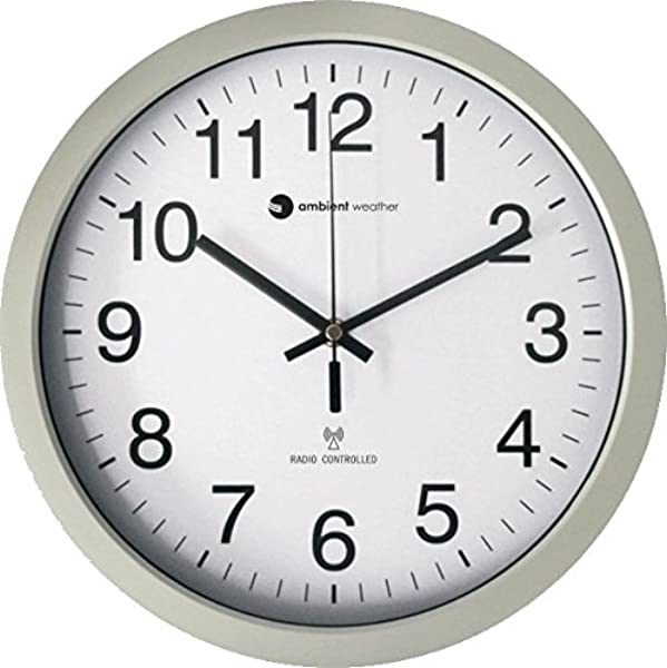 Ambient Weather RC 1200WS 12 Atomic Radio Controlled Wall Clock White Silver