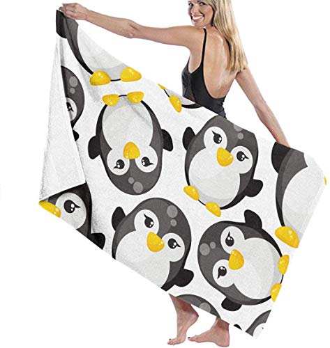 Ewtretr Toalla Playa Cute Cartoon Penguins Super Absorbent