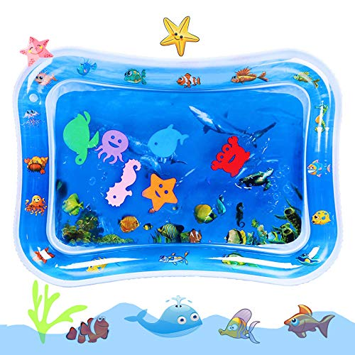 Winzwon Tummy Time Baby Water Mat Inflatable Baby Play Mat Activity Center Sensory Toys for 0-12moths Infant and Toddler, Gifts for Newborn Boys Girls