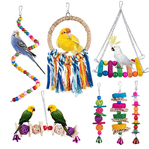 Dono 7pcs Bird Parrot Swing Toys,Hanging Bell-Colorful Chewing Toys with Hammock for Small and Medium Bird Parakeets Cockatiels,Conures,Parrots,Love Birds,Finches