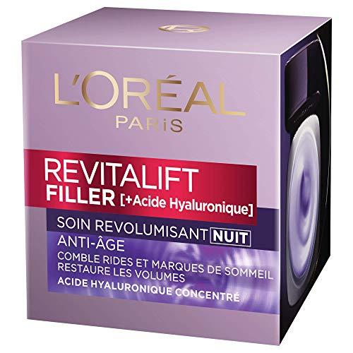 L'Oréal Paris - Revitalift - Filler - Soin Nuit Revolumisant - Anti-rides & Volume - Anti-âge - Concentré en Acide Hyaluronique - 50 mL