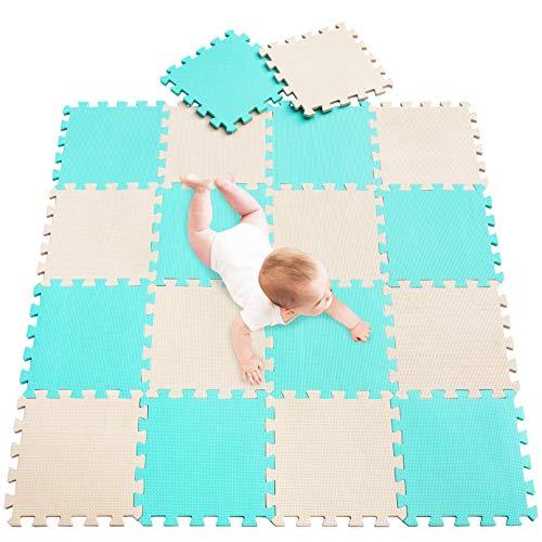 meiqicool Alfombra Puzzle para Niños Bebe Infantil, esteras de 30x30 cm, 18 Piezas en Espuma EVA años Alfombra puzle Goma Espuma 0810 Turquesa Beige 0810