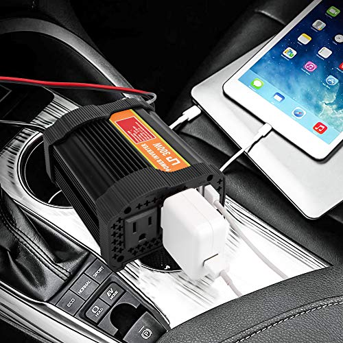 Car Power Inverter, LP 300W Power Inverter Truck/RV Inverter 12V DC to 110V AC Converter with Dual AC Outlets 2.1A USB Modified Sine Wave Dual USB Car Charger Adapter