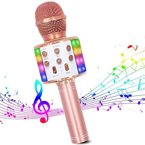 Karaoke Mikrofon, Bluetooth Mikrofon Karaoke Tragbarer 4-in-1Mikrofon mit LED-Tanzlichtern Kompatibel mit Android/PC und iOS Geräten für Erwachsene und Kinder zu Hause KTV/Party
