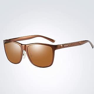 LUKEEXIN Fashion Men's Al-Mg Polarized Sunglasses, Full Frame Personality Sports Fishing Sunglasses (Color : Brown)